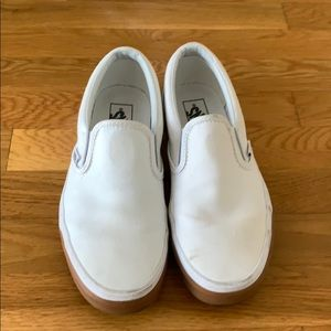 White Van Slip-Ons with Rubber Sole